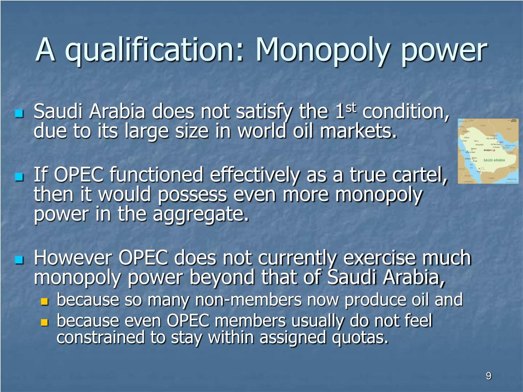A qualification: Monopoly power