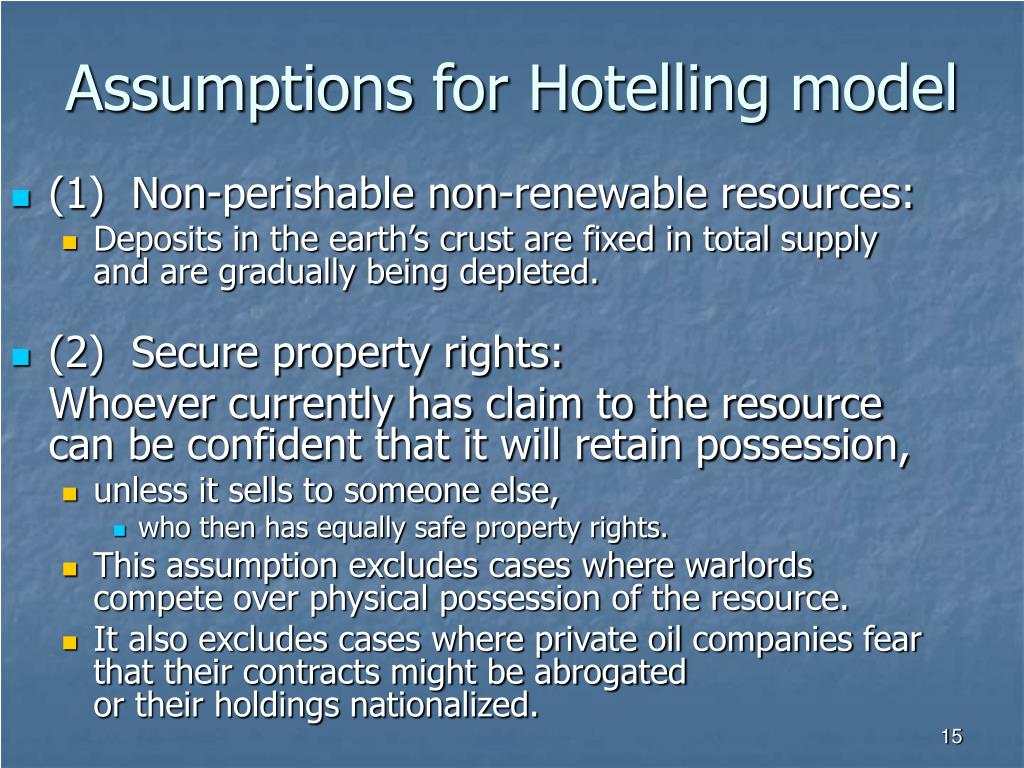 Assumptions for Hotelling model