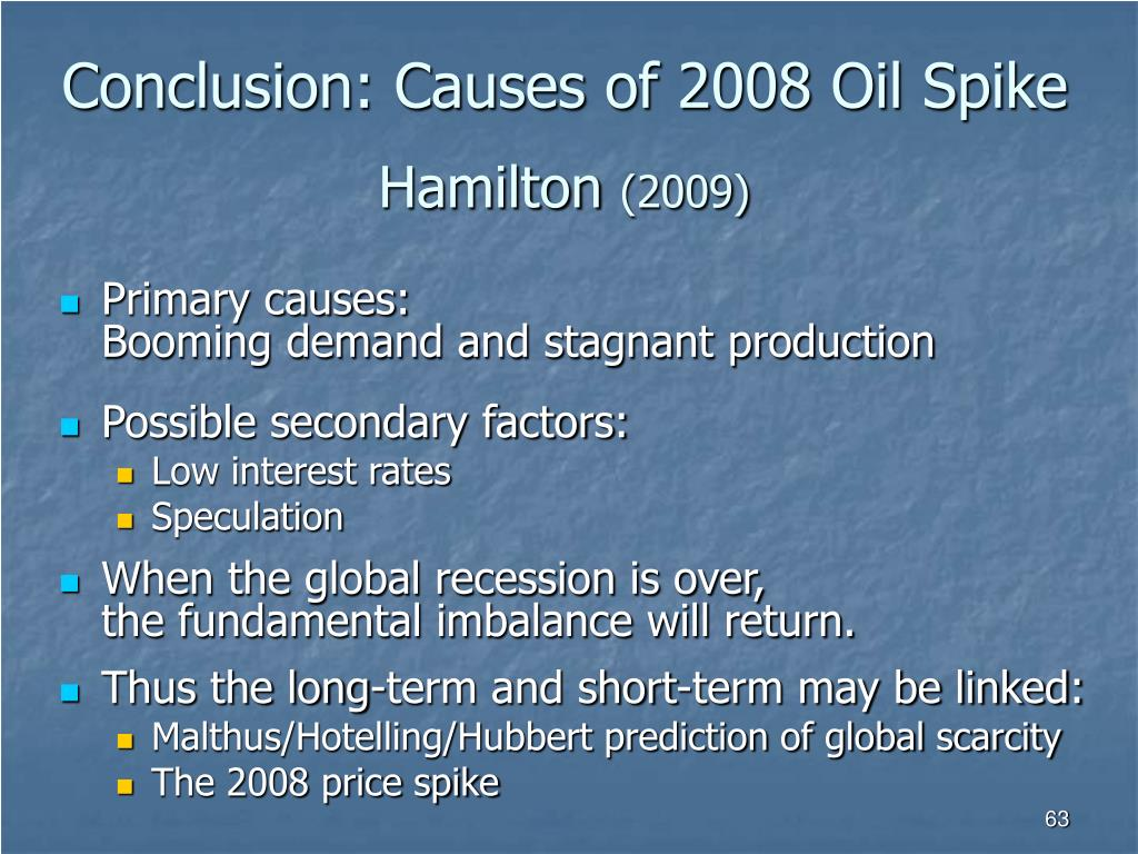 Conclusion: Causes of 2008 Oil Spike