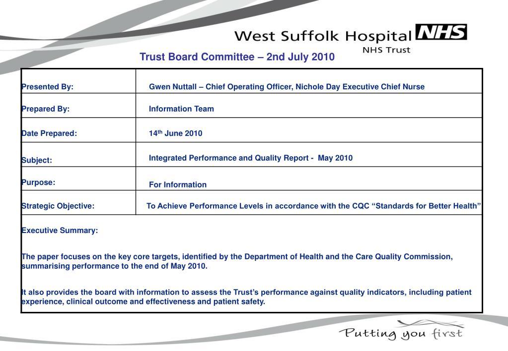 Trust Board Committee – 2nd July 2010