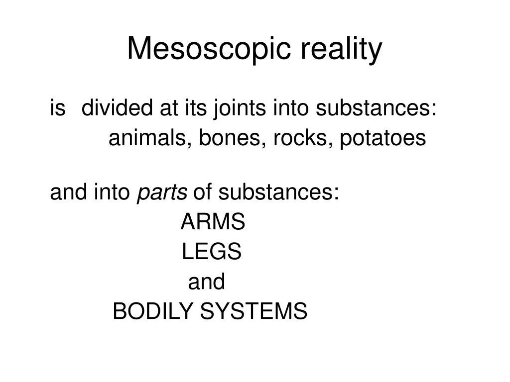 Mesoscopic reality
