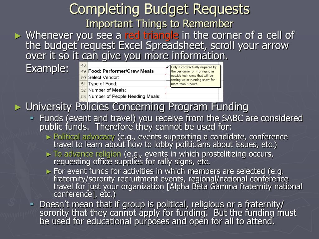 Completing Budget Requests