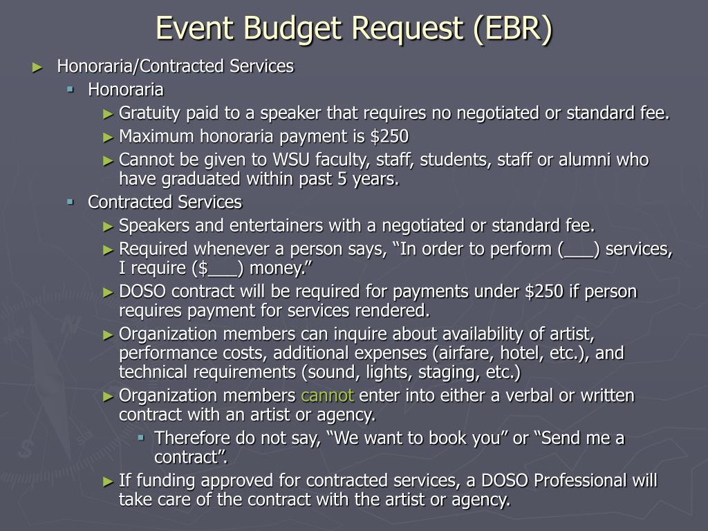 Event Budget Request (EBR)