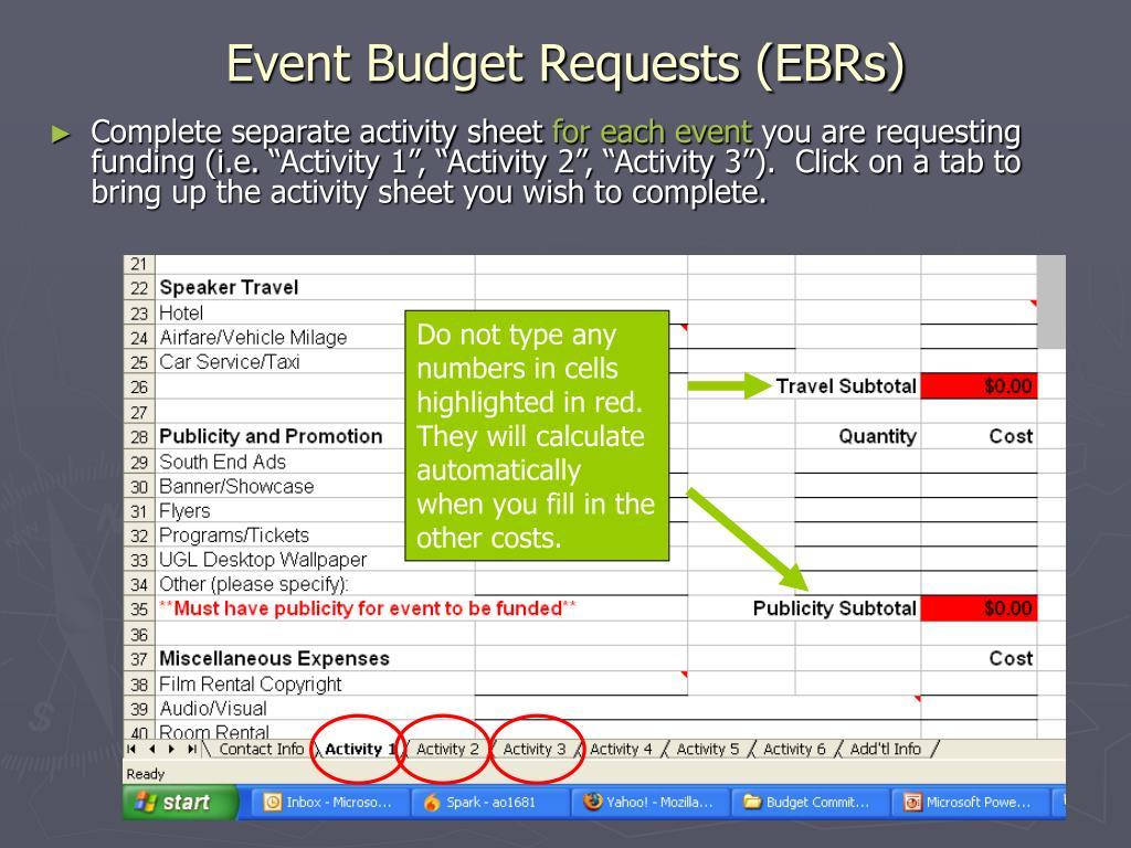 Event Budget Requests (EBRs)