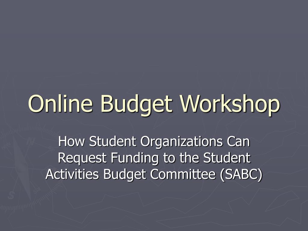 Online Budget Workshop
