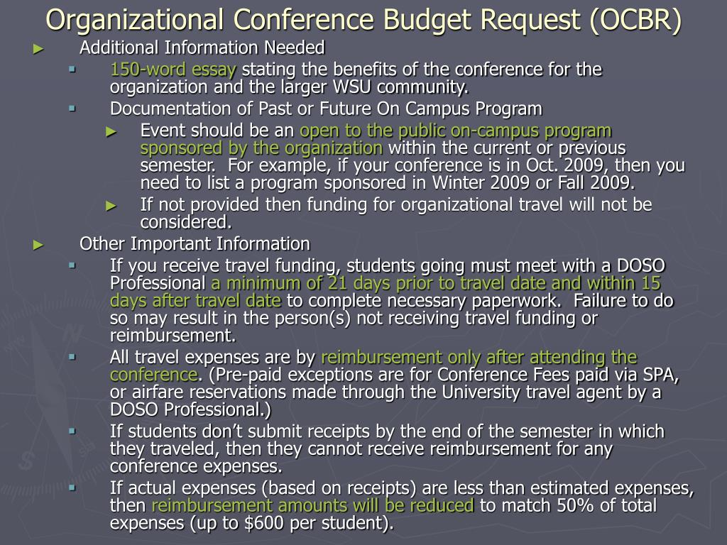 Organizational Conference Budget Request (OCBR)