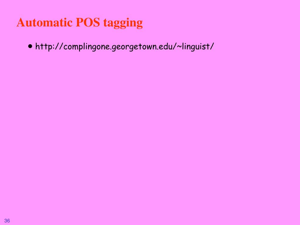 Automatic POS tagging