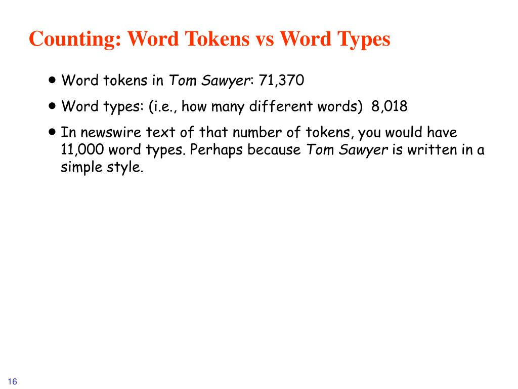 Counting: Word Tokens vs Word Types