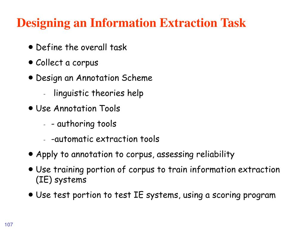Designing an Information Extraction Task