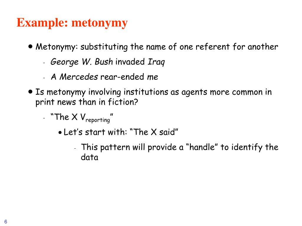Example: metonymy