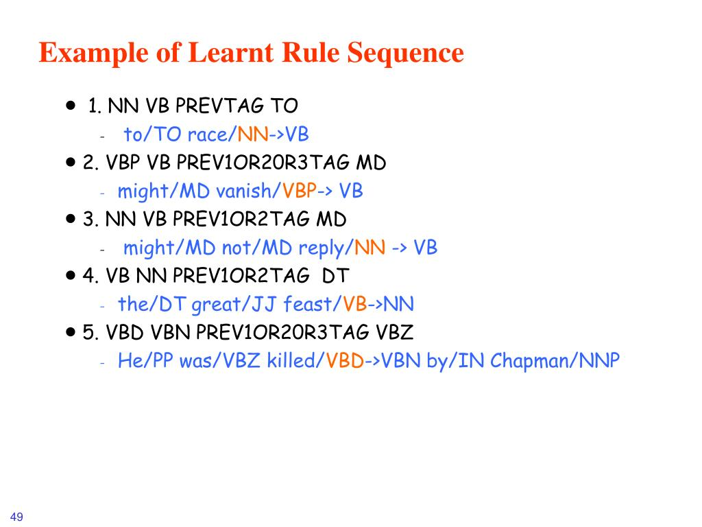 Example of Learnt Rule Sequence