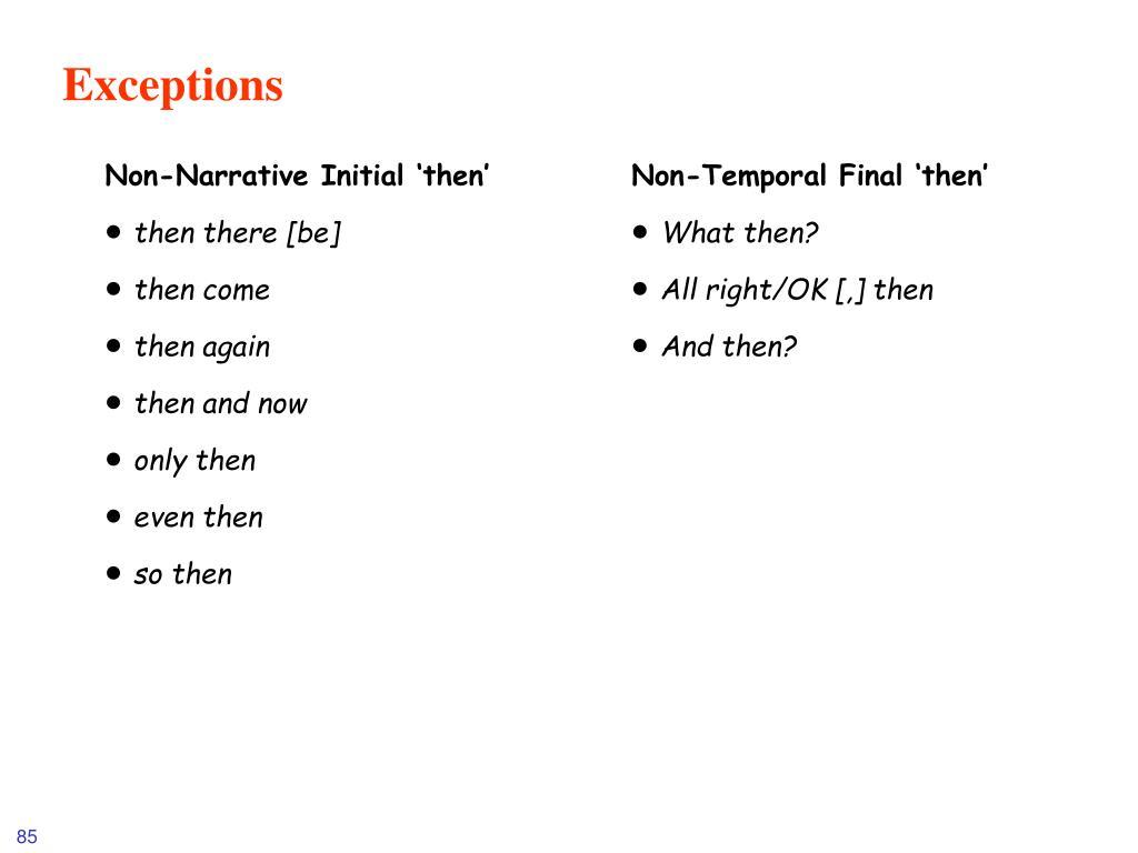 Non-Narrative Initial 'then'