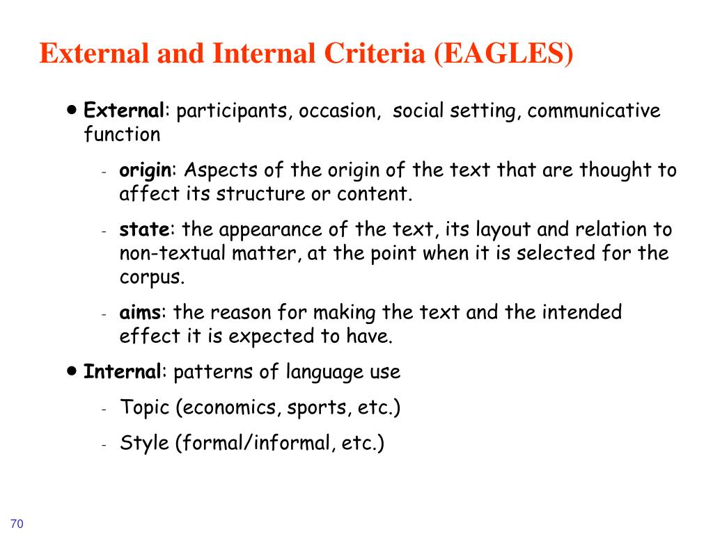 External and Internal Criteria (EAGLES)