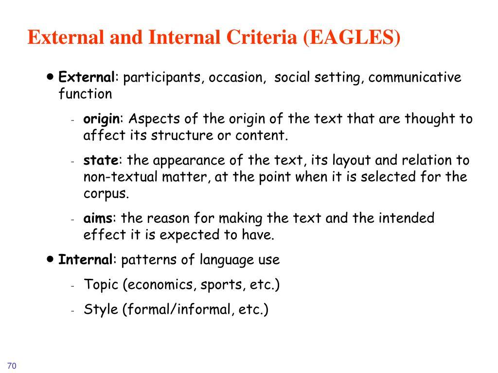 External and Internal Criteria (EAGLES)