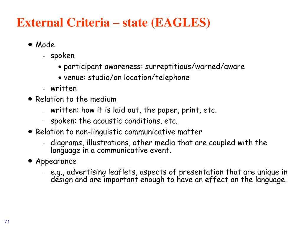 External Criteria – state (EAGLES)