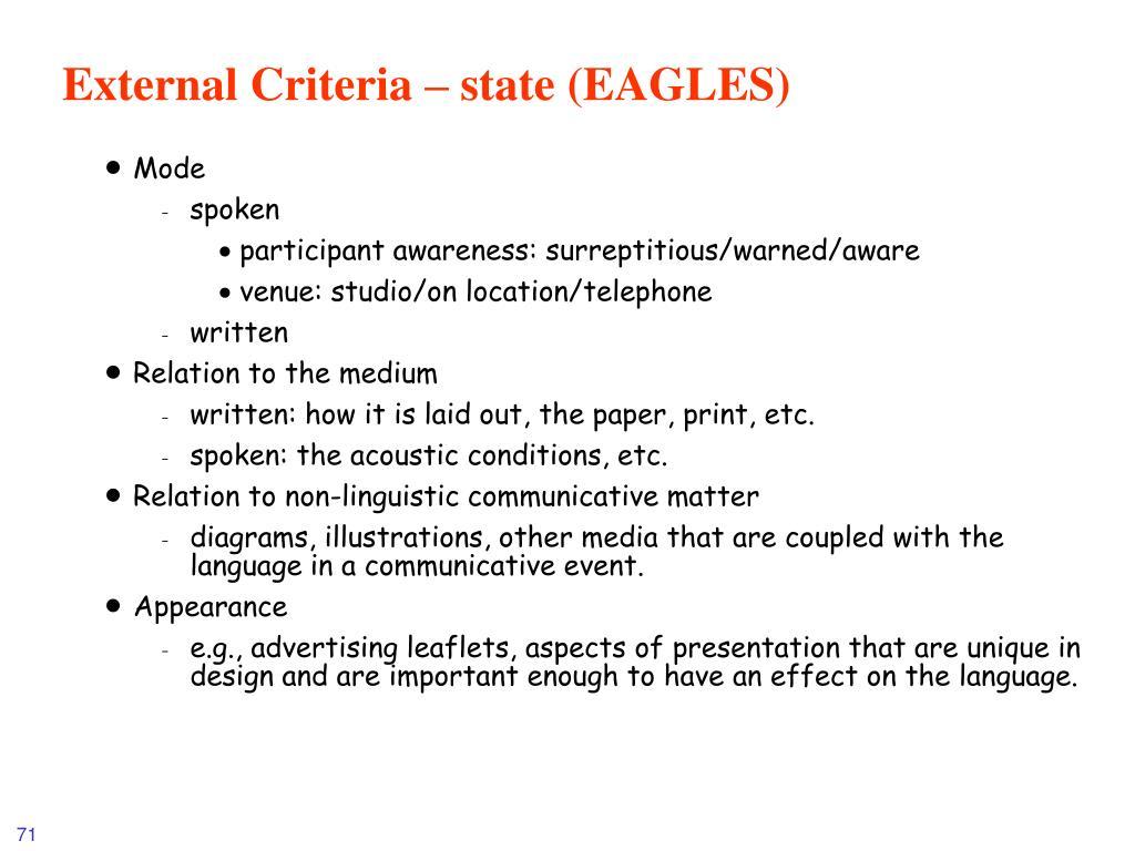 External Criteria – state (EAGLES)