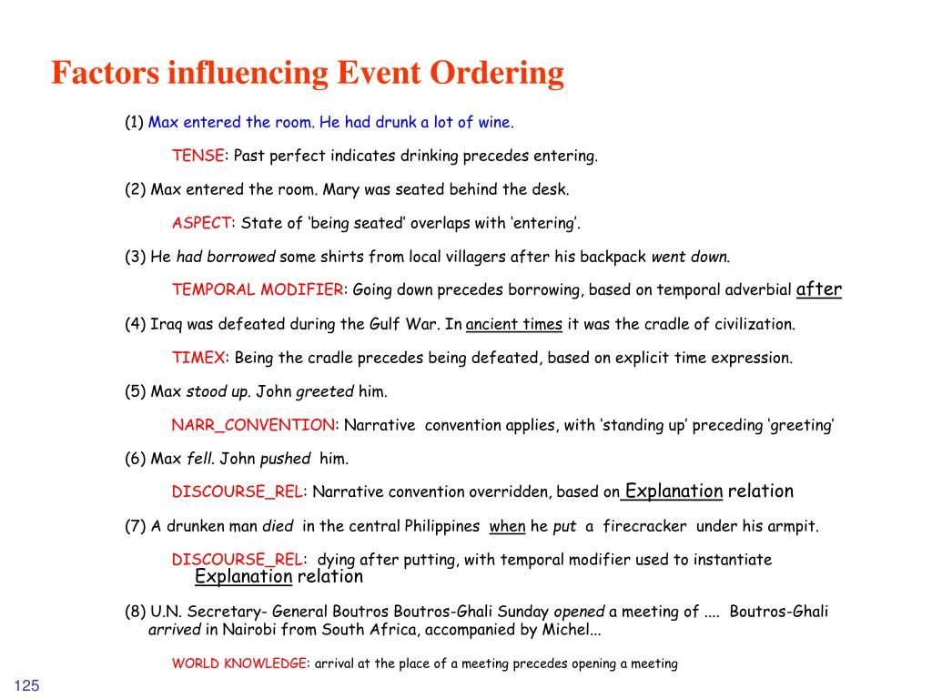 Factors influencing Event Ordering