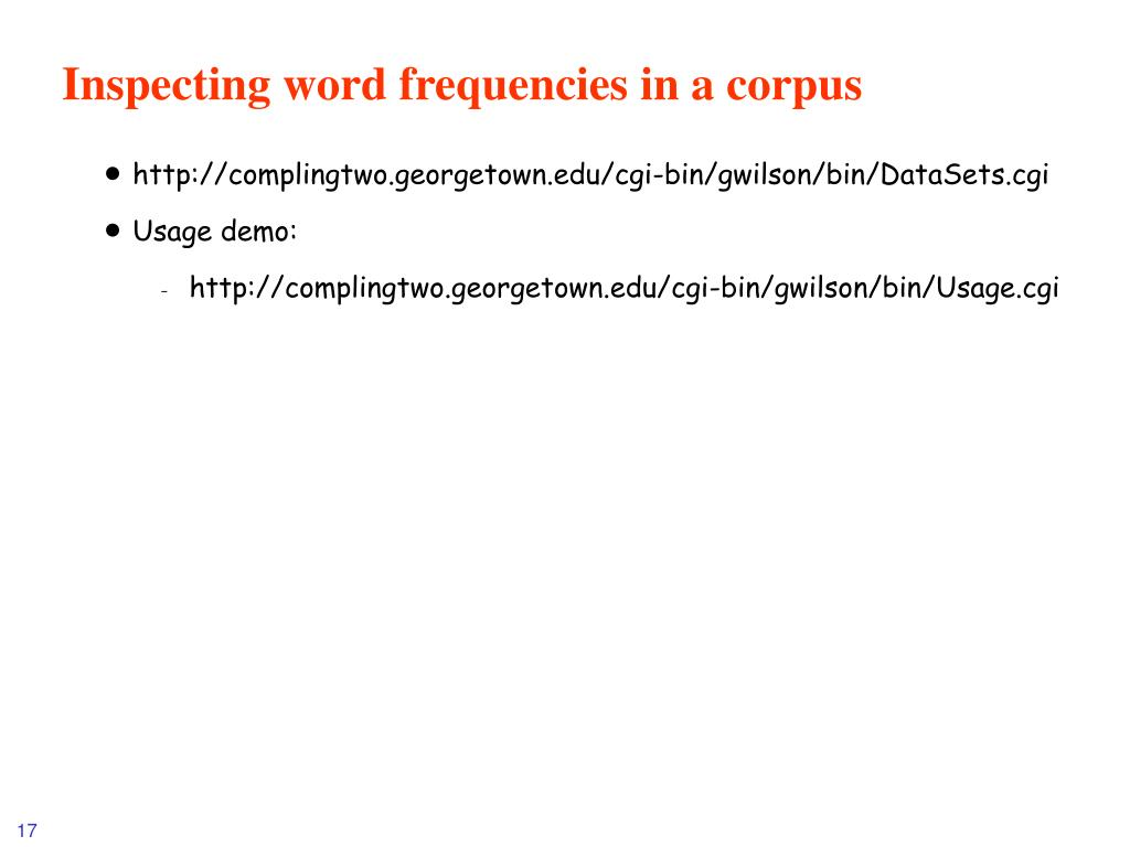 Inspecting word frequencies in a corpus