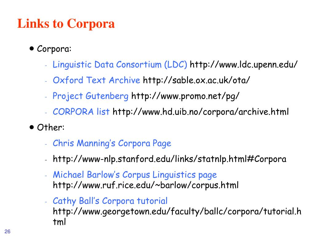 Links to Corpora