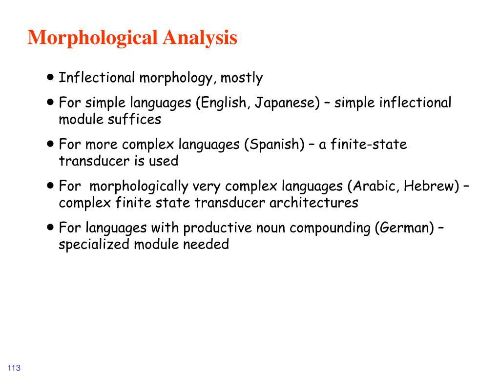 Morphological Analysis