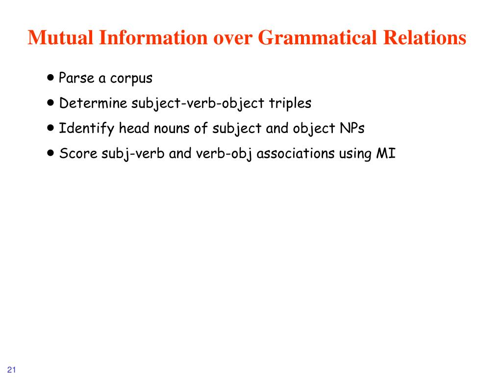 Mutual Information over Grammatical Relations