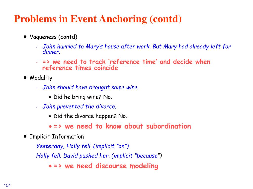 Problems in Event Anchoring (contd)
