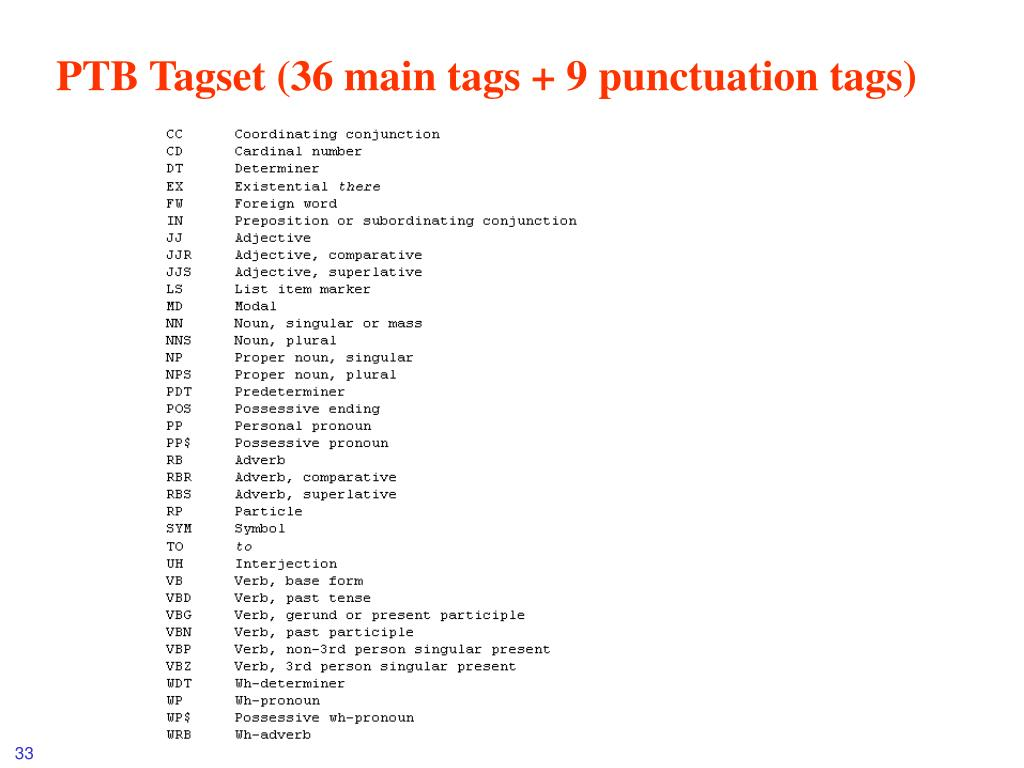 PTB Tagset (36 main tags + 9 punctuation tags)