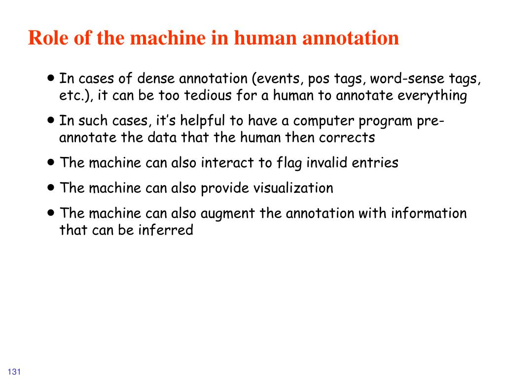 Role of the machine in human annotation