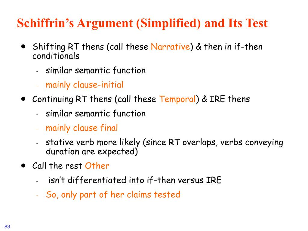 Schiffrin's Argument (Simplified) and Its Test