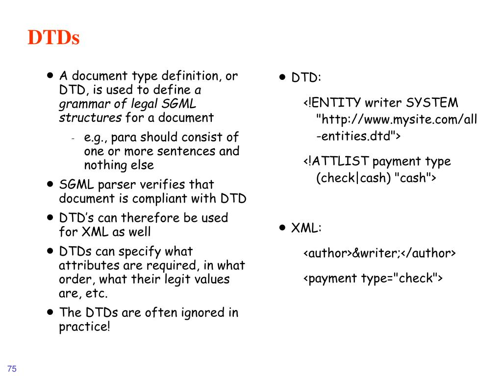 A document type definition, or DTD, is used to define