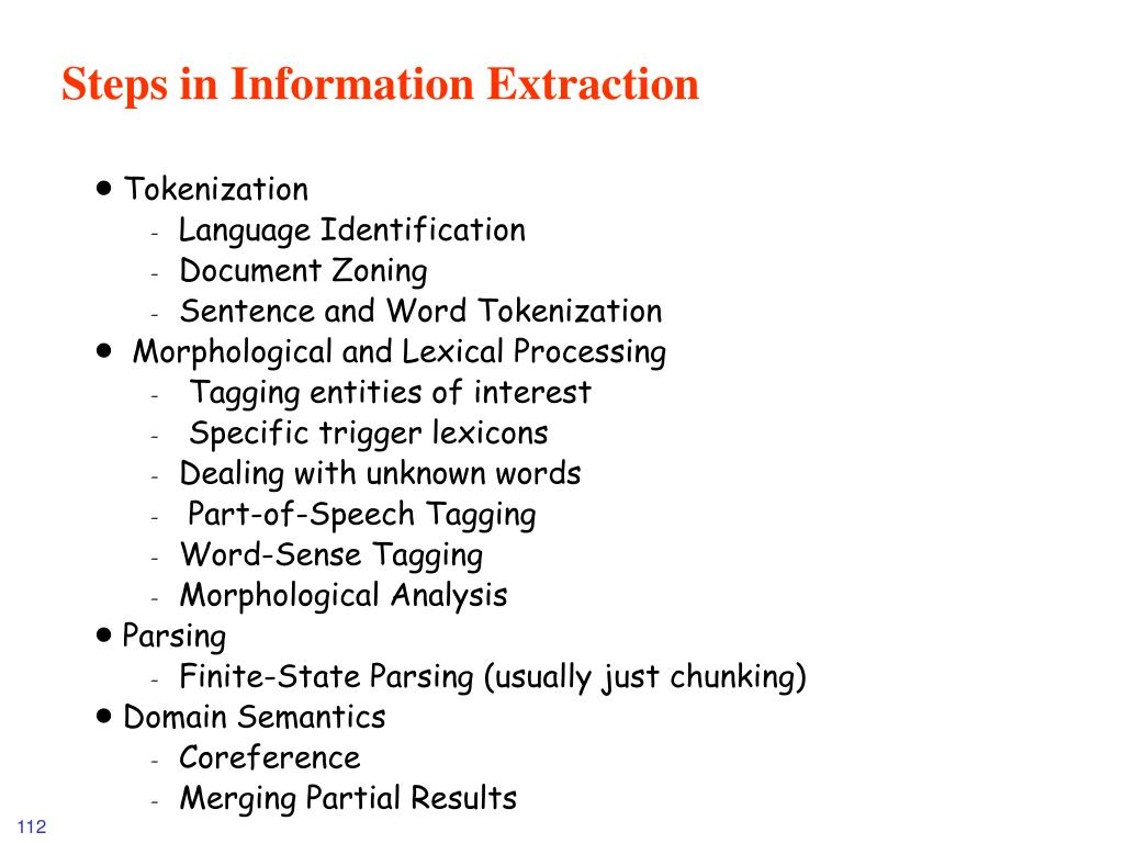 Steps in Information Extraction