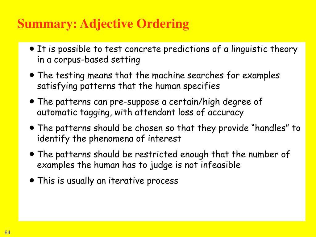 Summary: Adjective Ordering