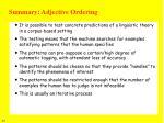 summary adjective ordering