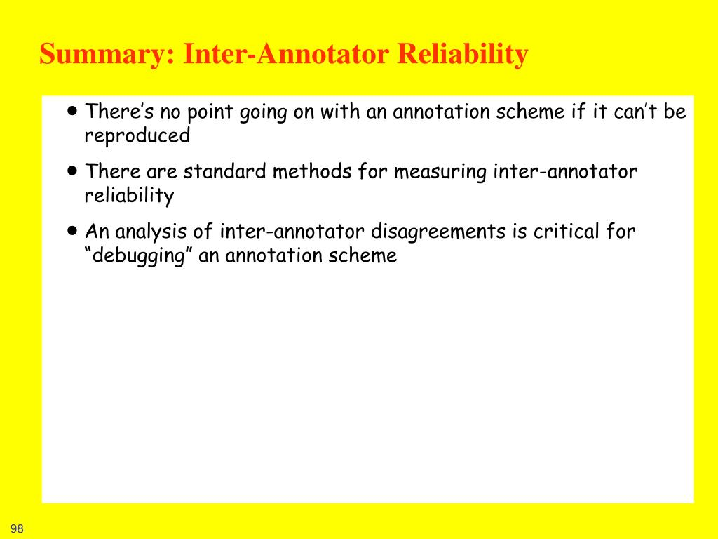 Summary: Inter-Annotator Reliability