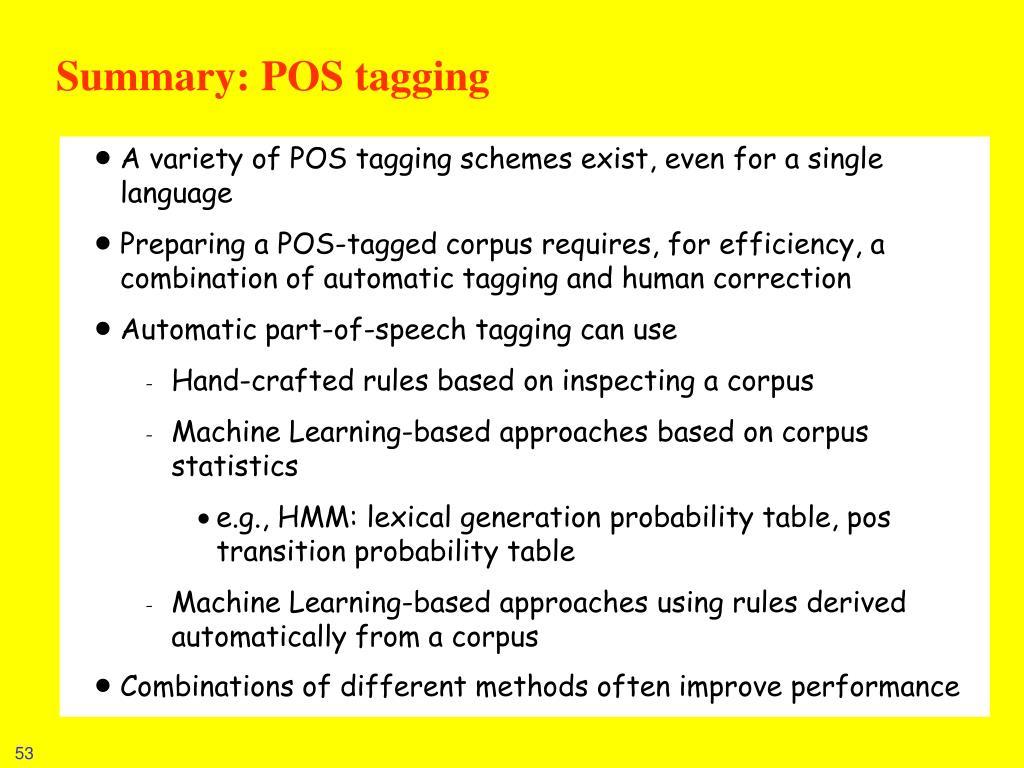 Summary: POS tagging