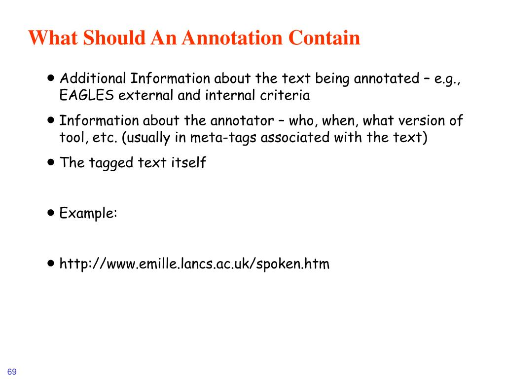 What Should An Annotation Contain