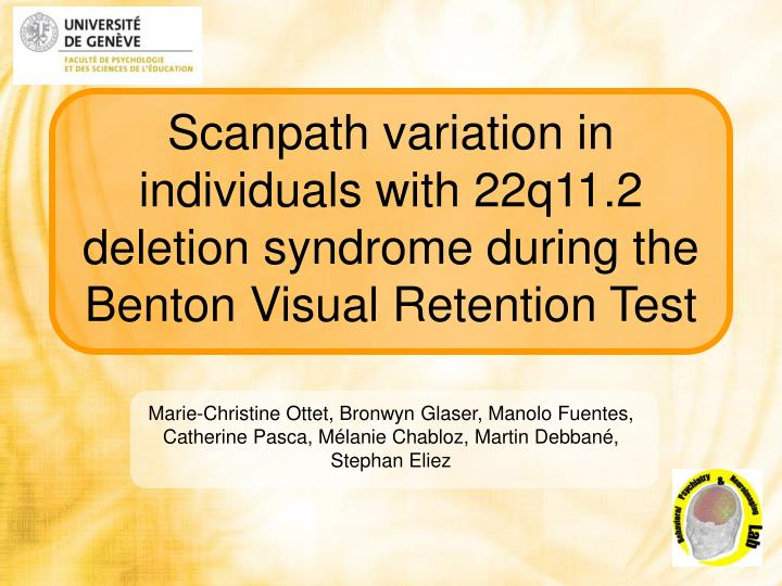 Scanpath variation in individuals with 22q11.2 deletion syndrome during the Benton Visual Retention ...