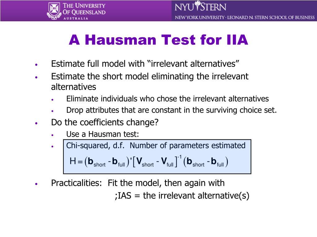 A Hausman Test for IIA