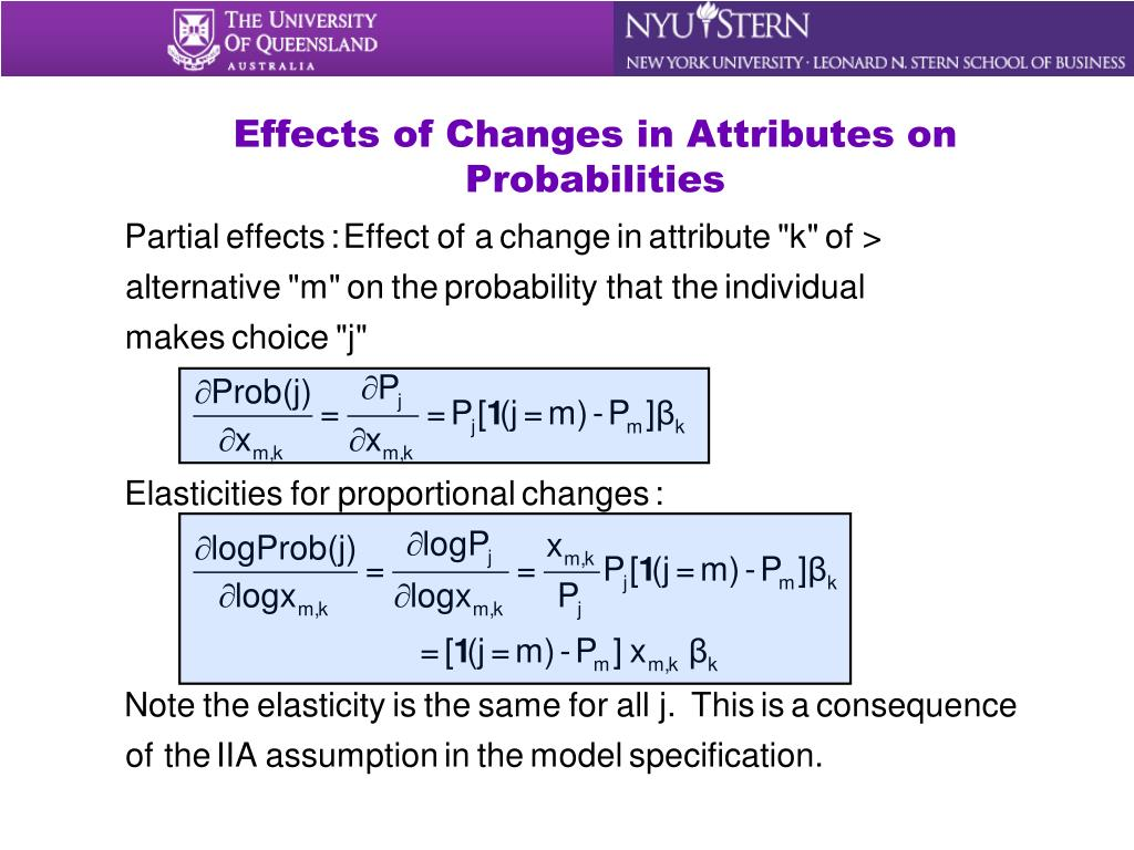 Effects of Changes in Attributes on Probabilities