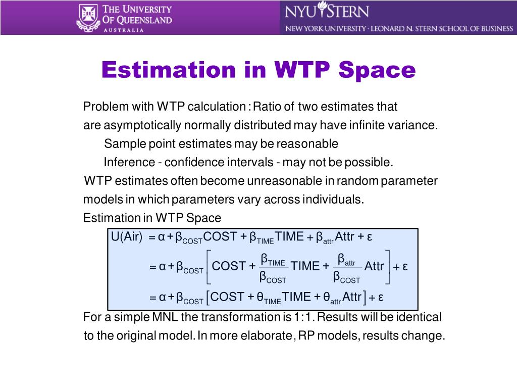 Estimation in WTP Space