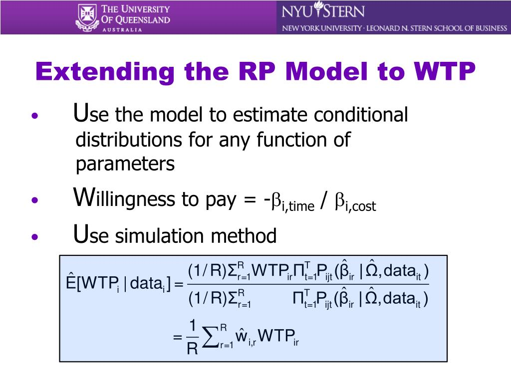Extending the RP Model to WTP