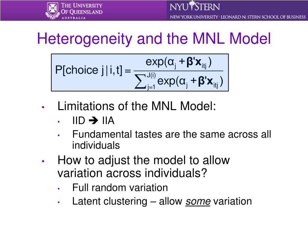 Heterogeneity and the MNL Model