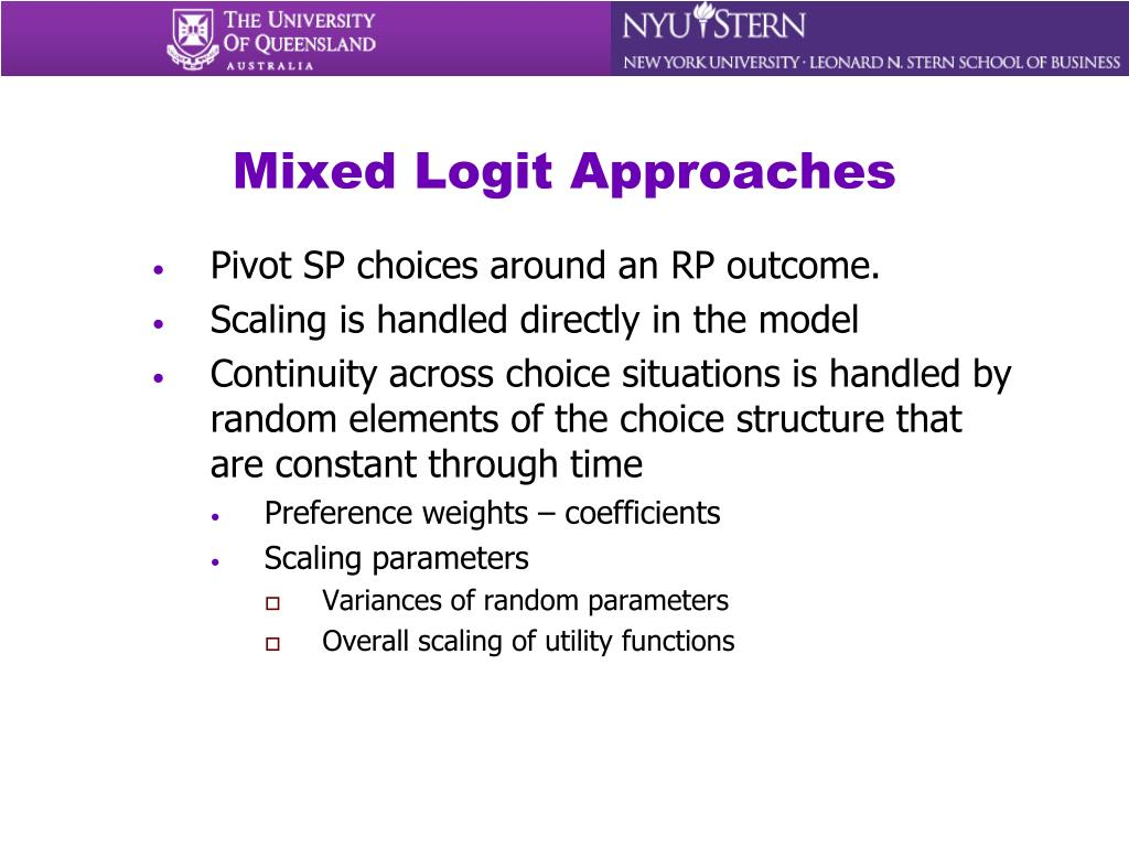 Mixed Logit Approaches