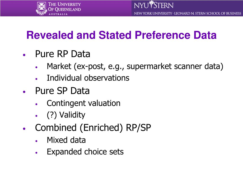 Revealed and Stated Preference Data