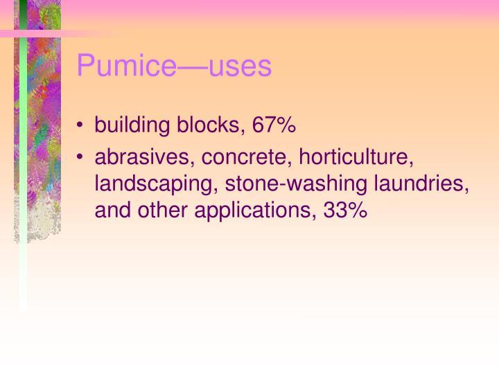 Pumice—uses