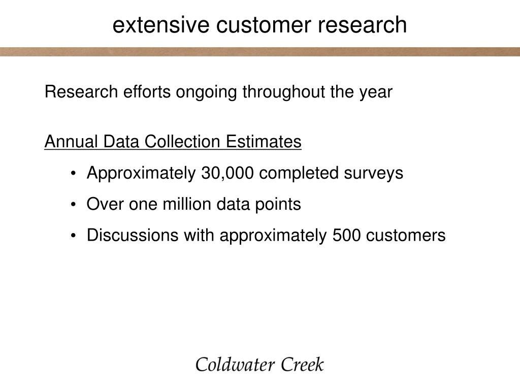extensive customer research