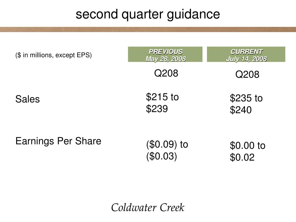 second quarter guidance