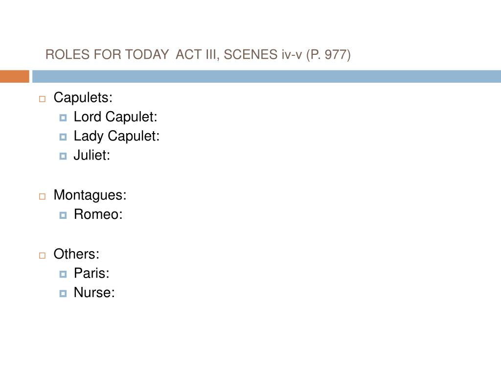 ROLES FOR TODAY  ACT III, SCENES iv-v (P. 977)
