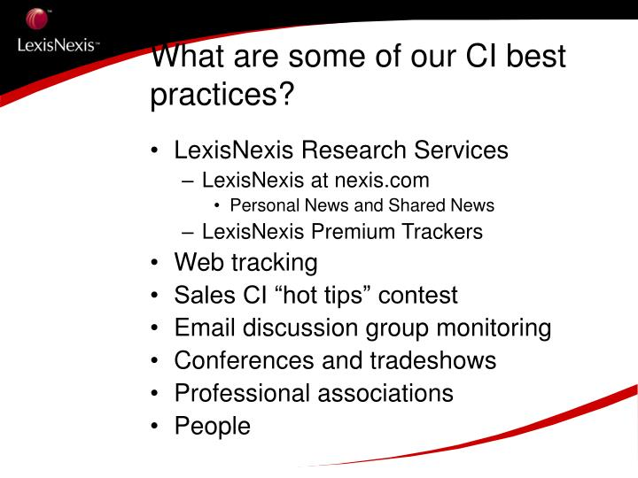 What are some of our CI best practices?