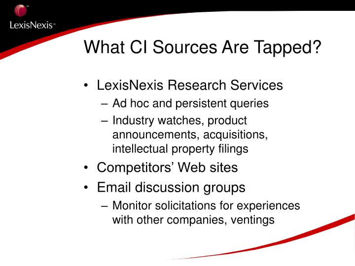 What CI Sources Are Tapped?